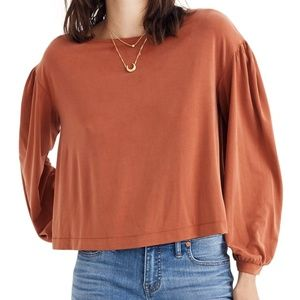 Madewell Sandwashed Gathered Sleeve Top